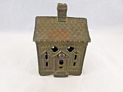 Vintage  Cast Iron House With Chimney & Pattern Roof Still Penny Bank