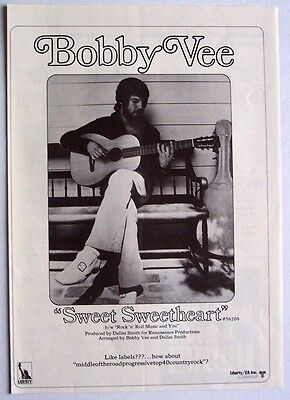 BOBBY VEE 1970 Poster Ad SWEET SWEETHEART