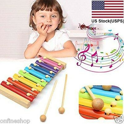 Baby Kid Musical Toys Xylophone Wisdom Development Wooden Instrument US Stock