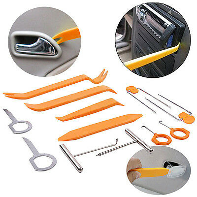 12pcs Car Door Panel Trim Clip Remover Radio Removal Puller Pry Plastic Tool Kit