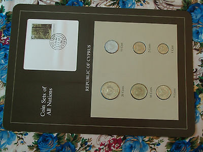 Coin Sets of All Nations Cyprus w/Card 1983 - 1992 UNC 7 cent stamp 20 cent 1992