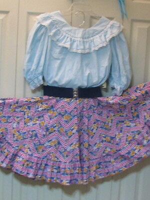 1908 Light Blue Blouse with Floral and Gingham Print Skirt, Belt & Tie, L