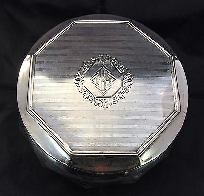 Antique Art Deco Wallace Sterling Silver Crystal Cut Glass Dresser Vanity Box