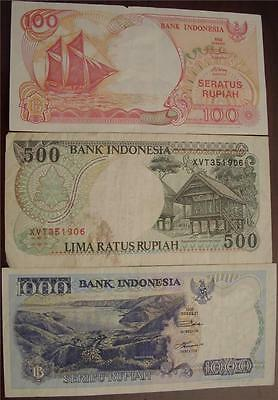 1992 100 500 and 1000 Rupiah Notes Indonesia - Three Notes 1 Lot