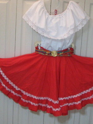 2520 White Blouse with Red Skirt & Belt, S