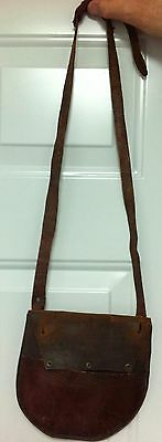 Antique Leather Horseshoe Bag Pouch Cavalry Used To CarrytFor Spare Horseshoe