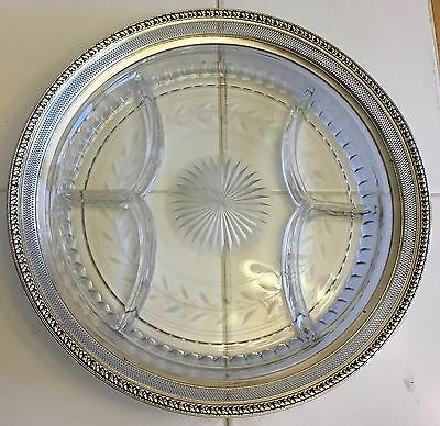 """Vintage Sterling & Crystal~12"""" Serving Divided Tray Dish Plate Cheese & Crackers"""