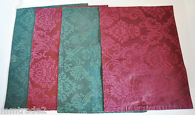 4 Green Burgundy Holiday CHRISTMAS PLACEMATS Polyester TOILE Pattern