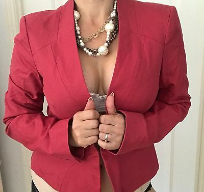 CUE WOMENS BLAZER TAILORED COTTON LINED WORK PARTY SLEEVE Made In AU SZ 14