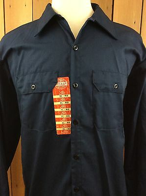 Men's RED KAP Long Sleeve Navy Blue Industrial Work Shirt Size XL