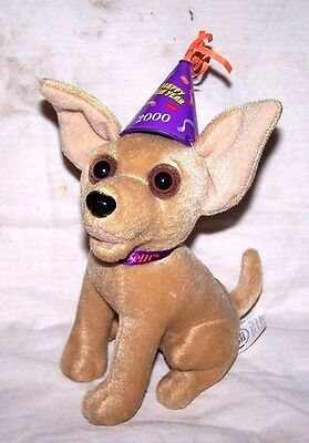 """VINTAGE Talking """"New Year 2000"""" Taco Bell Chihuahua Dog Plush Toy"""