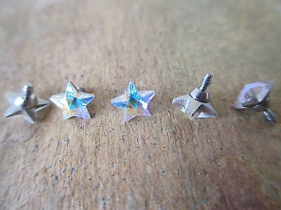 5mm Aurora Borealis CZ Floating Star Micro Dermal TOP Body Jewelry 14g (1.6mm)