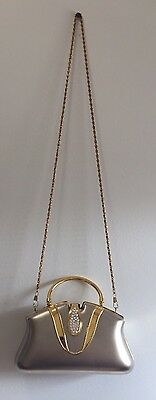 Heys Clamshell Purse PocketBook Elegant Formal Gold Silver Rhinestone With Chain