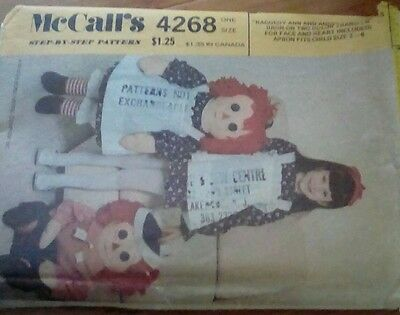 1974  Raggedy Ann and Andy doll patterns McCall's 4268