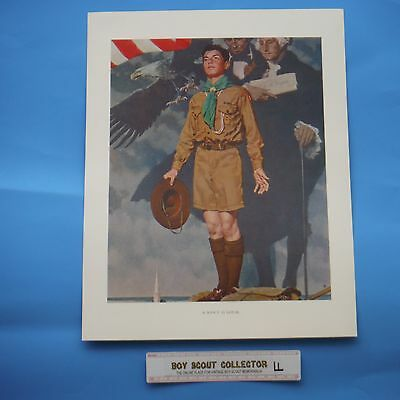 "Boy Scout Norman Rockwell Print A Scout Is Loyal 11""x14"" F"