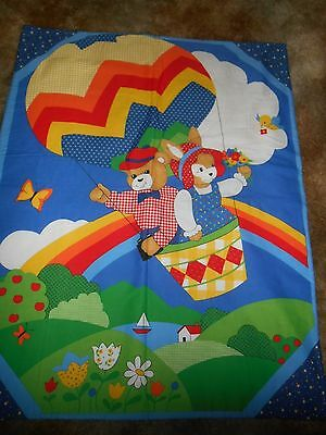 hand made baby quilt boy or girl, rainbows, teddy bears in hot air balloon new