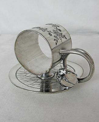 Antique Meriden Britannia Silver Plated Figural Napkin Ring With Water Lily