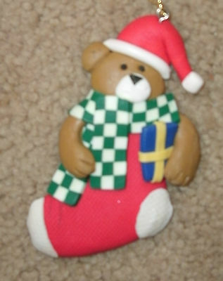 New Clay Christmas ornament - Teddy Bear in Stocking