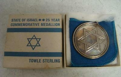 Towle Sterling Silver State of Israel 25 Year Commemorative Medallion Ornament