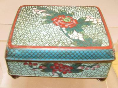 Early Cloisonne Box UNsigned No Maker Or Country Mark Floral 4 Ball Feet Aqua !!