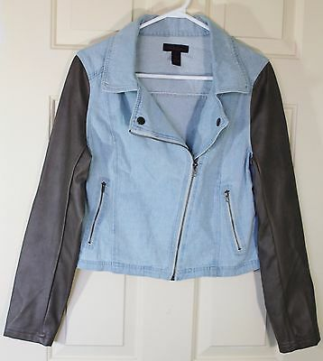 Womens Size L Denim Jacket Moto Style Faux Leather Sleeves Light Wash Seductions