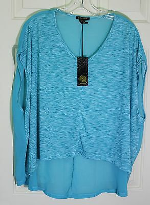 WOMENS Qed London Sheer Back Oversize Hi Lo Blouse Shirt Top Size S/M New NWT