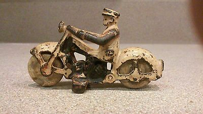 """vintage rare 1930's 3"""" long hubley cast iron motorcycle"""