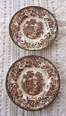 "2-Royal Staffordshire Brown ""Tonquin"" Clarice Cliff, 6.5"" Bread Plates-England"