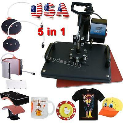 5In1 Digital Heat Press Machine Sublimation For T-Shirt Mugs Plate Hat Printer A