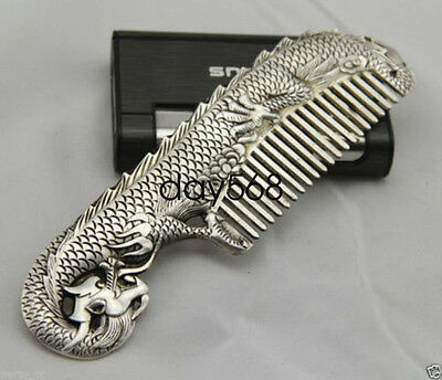 Old Collectibles Miao Silver Handwork Carved dragon Elegant Comb lj393