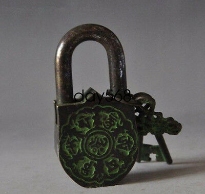 China's Tibet Buddhism bronze sculpture white tara big door lock the key lj406