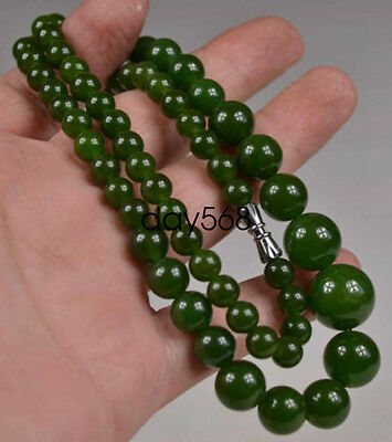 Old Collectible Oriental natural green jade beads necklace lj420