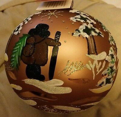 "BOMBAY CO. GLASS CHRISTMAS ORNAMENT 5"" DIAMETER Hand Painted Vintage 1990s *NEW*"