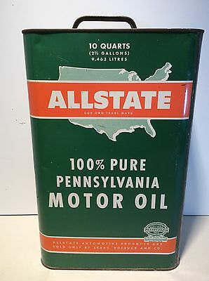 2 1/2 Gallon ALLSTATE/SEARS Motor Oil Tin Can - Sign - service gas station
