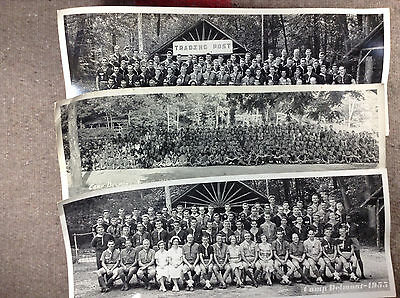 1950s Lot of 3 Camp Delmont Panoramic Photos Featureing Campers + Staff [PA159]