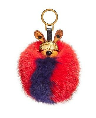 MCM Rabbit Visetos Fox Fur Pom Pom Ball Animal Bag Charm Leather Key Chain Ring