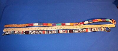 """2 Woven Tapestry and Leather Belts; Sizes 32"""" and 35"""""""