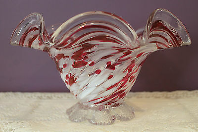 Hand Blown Art Glass Footed Ruffled Bowl 'end Of The Day Glass'