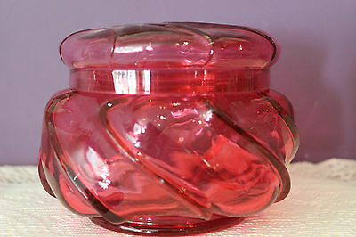 Vintage Fenton Cranberry Swirl Covered Candy Dish
