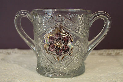 Eapg Indiana Glass Rayed Flower Gold And Ruby Red Double Handled Spooner