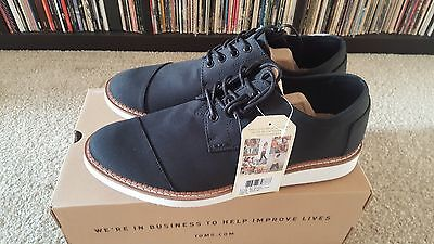 Toms Mens Size 12 Brogues Black Cotton Twill Shoes