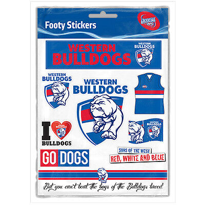 Official AFL Western Bulldogs Footy Stickers Sticker Sheet Pack