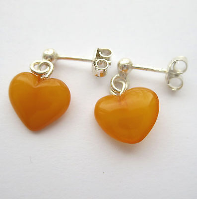 Handmade Natural Baltic Amber Earrings Sterling Silver 925 Heart