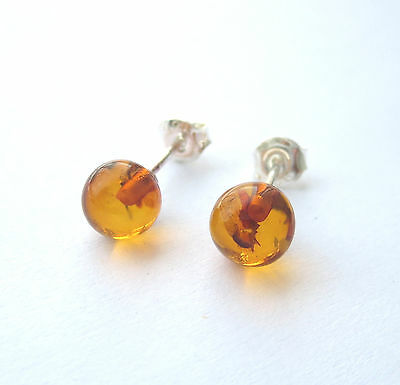 Natural Baltic Amber Round 7 mm Ball Stud Earrings Sterling Silver 925
