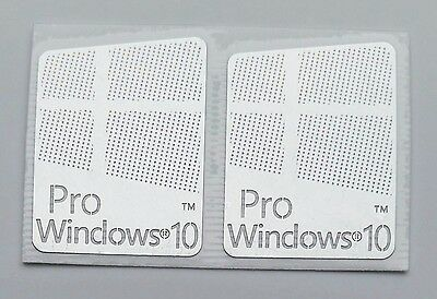 "2x ""Windows 10 Pro"" Logo Metal Sticker for Computer/Laptop PC 17x22mm USA Seller"
