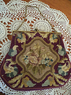 Vintage Tapestry/needle Point Bag Made In France With Chain Handle