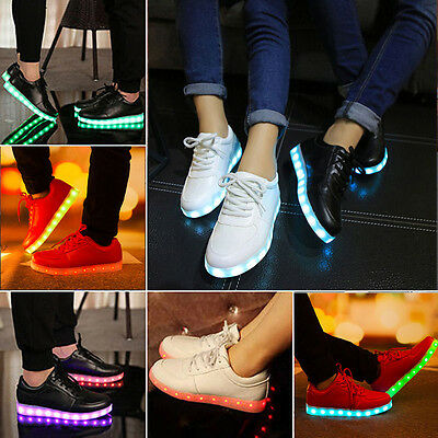 Unisex LED Light Lace Up Luminous Shoes Sportswear Sneakers Luminous Casual