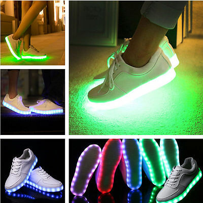 US Unisex LED Light Lace Up Sportswear Sneakers Luminous Shoes Casual White