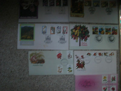 7 x Australian First Day Covers Plants Fungi Roses Fruit Native Orchids