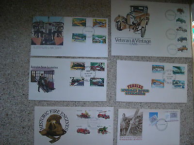 6 x Australian First Day Covers Transport Aircraft fire Engines Ferries loco's